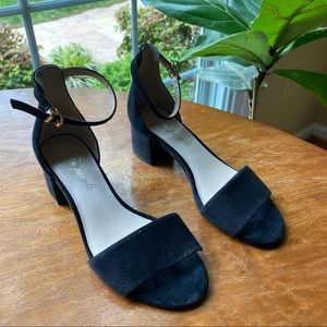 Free People black open-toe heels with ankle strap
